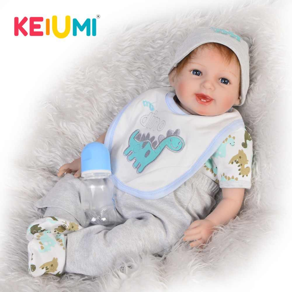 Sorriso 55 cm Lifelike Boneca Reborn Vinil Silicone Boneca Bonecas Recém-nascidos Menino Brinquedo 22 ''Moda Bebês Reborn Corpo De Pano presentes criança
