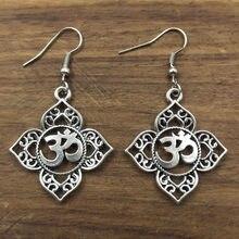 1 пара филигранные Ом АУМ Будда Лотос серебряные Подвесные серьги, буддийские, серьги для йоги