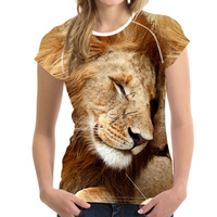 FORUDESIGNS Tshirt Women 3D Lion Printing Elastic Tops Short Sleeved Soft Shirt For Ladies Slim Bodybuilding