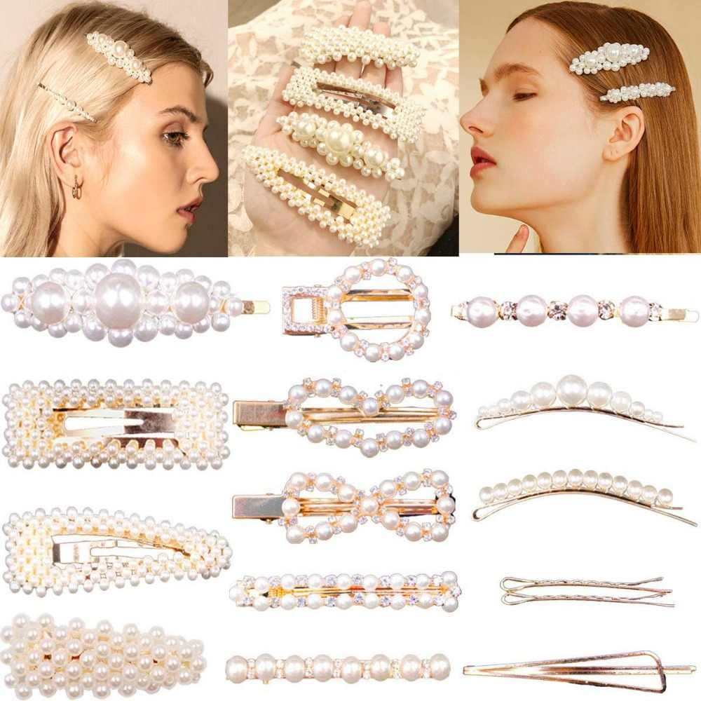 15Pcs Pearls Hair Clips for Women Decorative Bridal Artificial Bling Pearls Hairpins Headwear Barrette Styling Tools Accessories