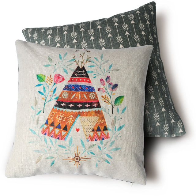 double sided printing cushions pillow, indian tent pattern pillow Making Decorative Pillow Covers