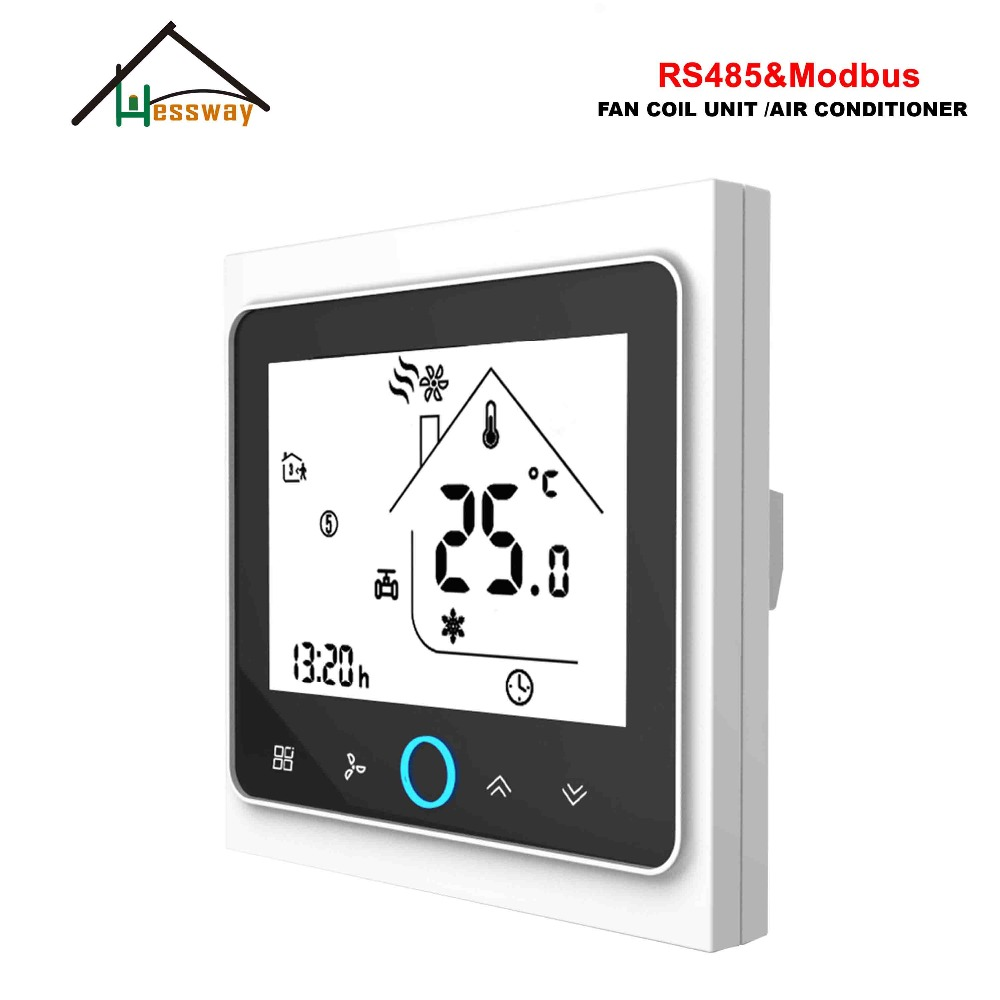 HESSWAY 3 Speed RS485 Rtu MODBUS Thermostat Control AC95-240V,24AC For Smart Cool Heating Switch