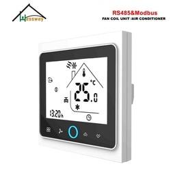 Hessway 3 velocidade rs485 rtu modbus termostato controle AC95-240V, 24ac para inteligente interruptor de aquecimento frio