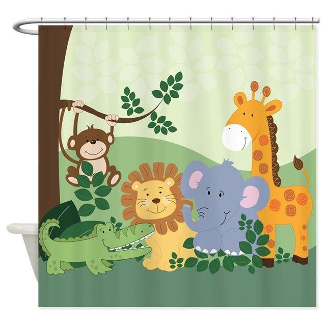 Jungle Safari Animals Decorative Fabric Shower Curtain Waterproof Polyester 8 Sizes 12 Hooks