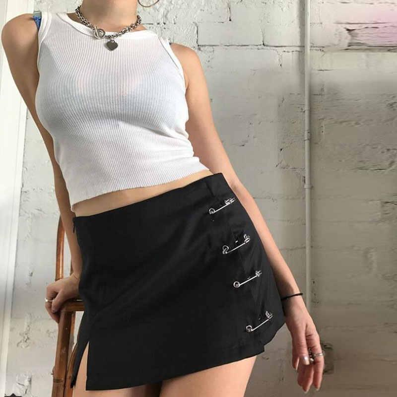 72af84aa5d8a0 unif Streetwear Mini Skirt Women Side split brooch High Waist Side Zipper  Short Skirt Sexy Female A-Line Slim Hip Camo Skirts