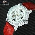 FORSINING модные элегантные женские часы с автоматическим механическим кристаллом Iced Out полые цветочные циферблаты Топ бренд Роскошные красные...