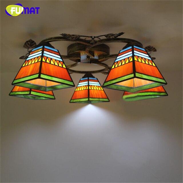 FUMAT Art Ceiling Light European Vintage Mediterranean Stained Glass Lights Creative Living Room Lamp Luminaire Abajur