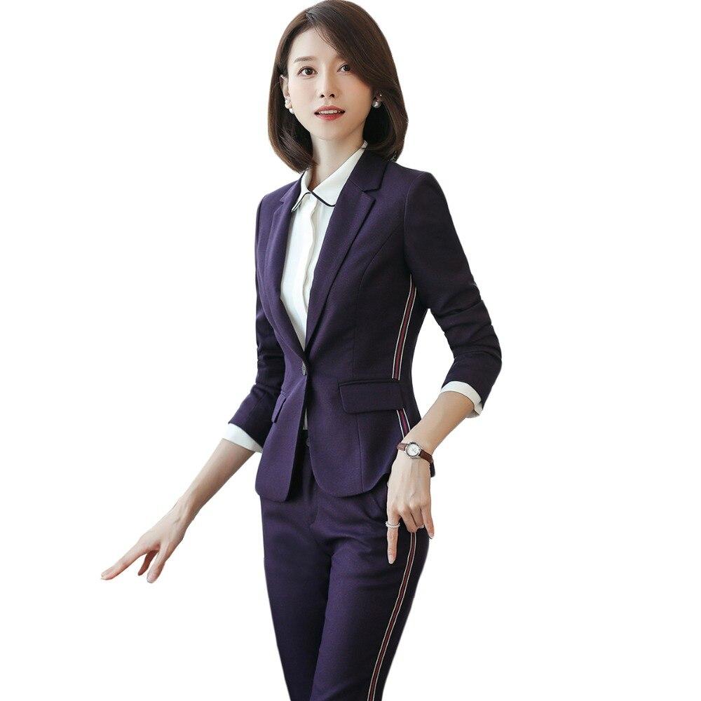 S Noir Élégantes purple Costumes Pantalon Bureau Formel Blazer Black 2018 Haute Suits D'affaires Pant Ensemble Nouvelles De Dame Violet Pour Femmes Slim Qualité 4xl Suits dY6qAwCwx