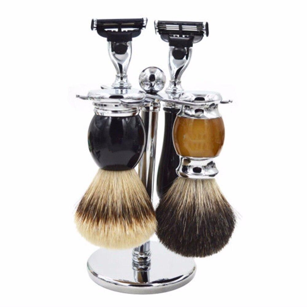 Kemei 15X7CM Men Razor Holder Stainless Steel Shaving Brush Stand Classic Safety Razor mens badger shaving brush stand razor holder and double head safety straight razor