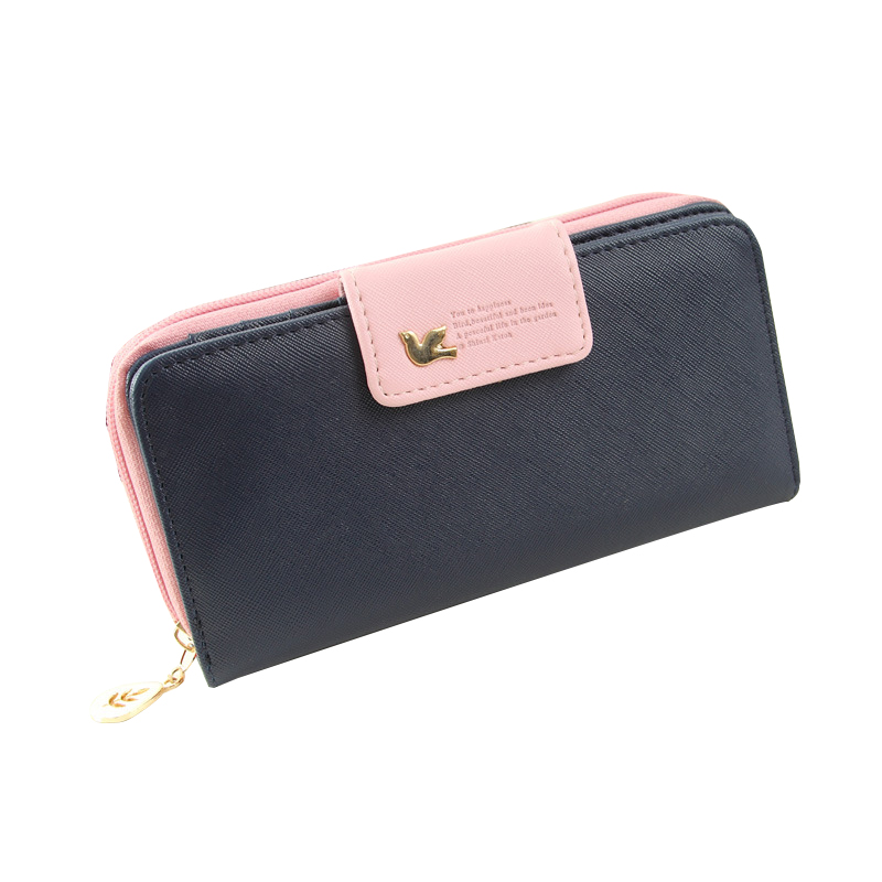 Fashion womens long wallets and purses Bird Buckle Ladie PU Leather Zipper