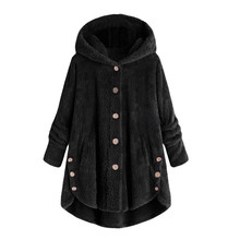 2019 Winter Coat Women Hooded Fashion Female Solid Button Fluffy Tail Tops Pullover Loose Outerwear