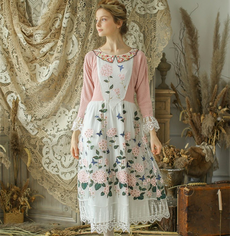 Original Design New summer Automne robes Femmes Vintage Mori Filles Dentelle Patchwork Broderie rose Tricoté Coton Robe Longue