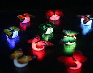 Image 4 - 10 ピース子供ルームカラフルな蝶 Led ナイトライトランプホームロマンチックな寝室パーティーデスク壁の装飾夜の光
