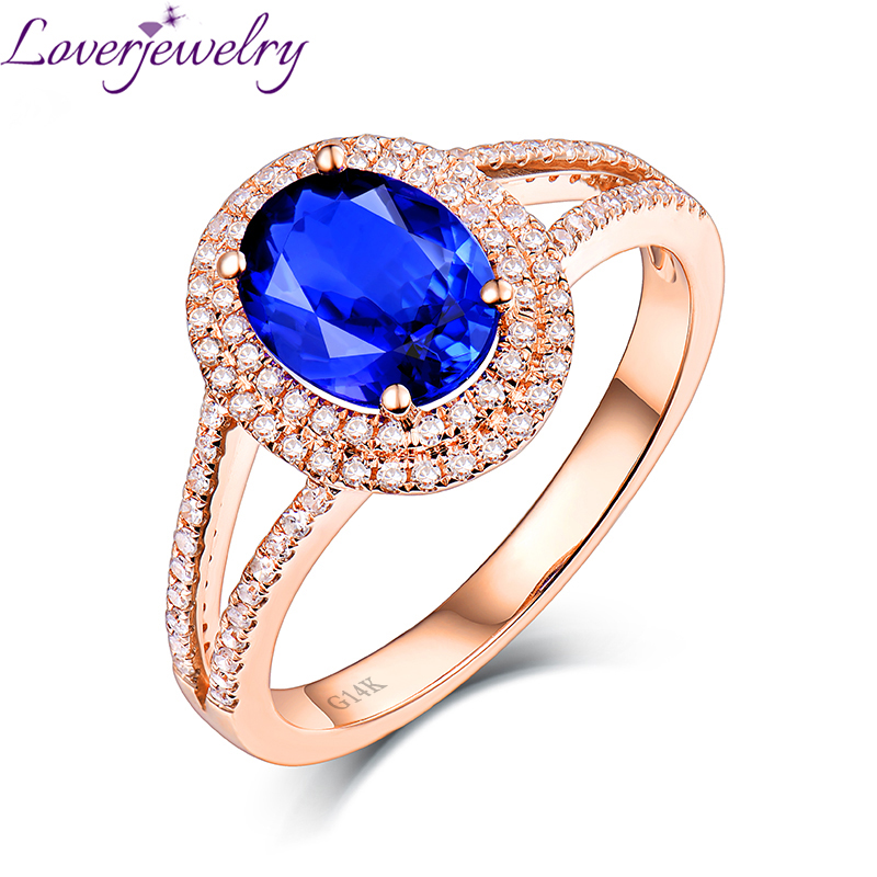 Lovely Real 14K Rose Gold Natural Tanzanite Wedding Ring Charming Diamond for Wife Anniversary Fine Jewelry Gift Wholesale lovely yellow sapphire earring charming diamond engagement fine jewelry for wife birthday anniversary gift