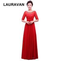 cheap formal wine red blue pageant woman elegant bridesmaid gowns ladies long party dress dresses elegant with half sleeves