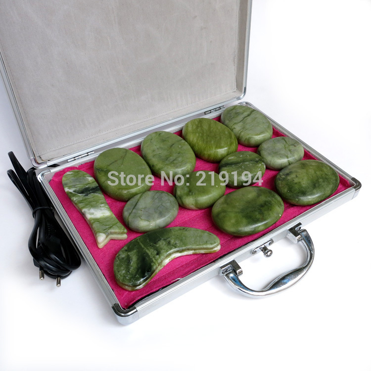14pcs set jade body massage hot stone face back massage plate SPA with heater box in Massage Relaxation from Beauty Health