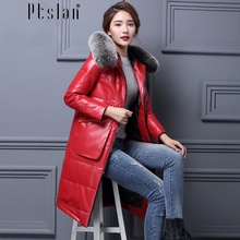 Ptslan Women's Genuine Lambskin Leather Down Coat Long Sleeve Long Winter New Jacket&coats Thic with fox fur collar