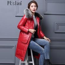 Ptslan Women's Genuine Lambskin Leather Down Coat Long Sleeve Long Winter New Jacket&coats Thic with fox fur collar