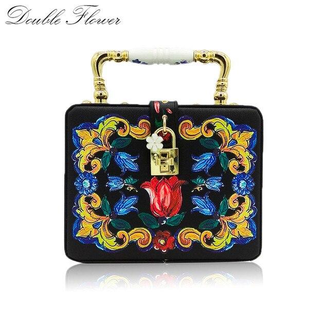 Double Flower Rose Print Women Fashion Handbag Ceramics Top Handle Totes Bag Casual Crossbody Bag Box Clutch Purse
