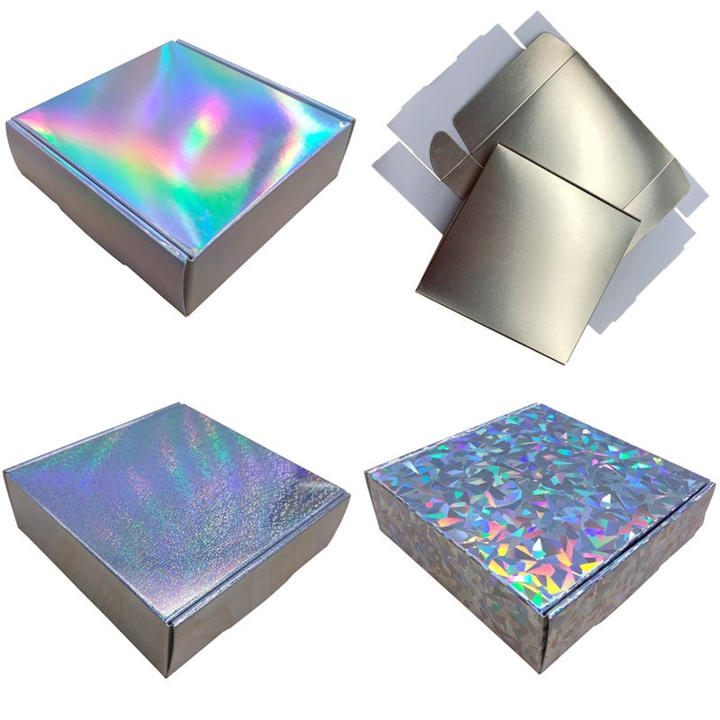 50 Boxes Eco friendly Paper Candy Box for Wedding Holographic Gift Packaging Box Party Favor Laser