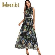 Bohoartist летние платья Длинные без рукавов wmpire принтом раза шить кружева женские пляжные 2018 богемное Летнее Длинное Платье