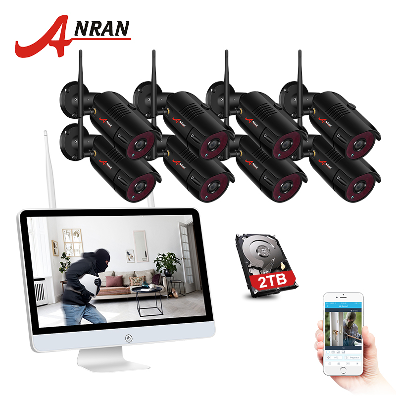 ANRAN 8CH CCTV System Wireless 1080P 15 Inch NVR Security Camera System With 2MP Outdoor Wifi Audio IP Camera Surveillance Kit