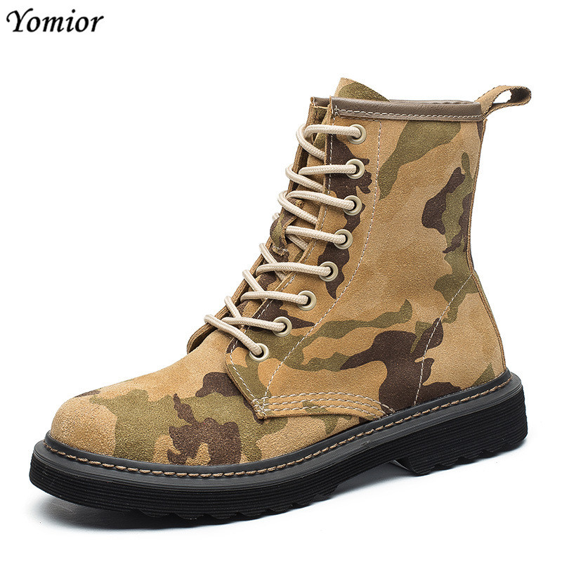 Yomior Brand Women Boots Female Winter Spring Shoes Casual Fashion Genuine Leather Ladies Ankle Boots Camouflage Comfortable