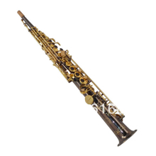 Straight Pipe B(B) Soprano Saxophone Professional Instrument Surface Of Black Nickel Gold Hand Carved B Flat Sax