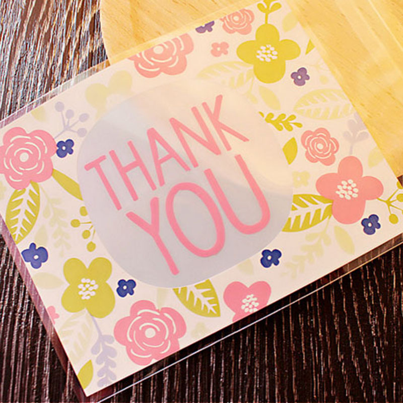 "50/100pcs 10x13cm Flower Pattern ""Thank You"" Candy Bags Self-adhesive Plastic Bag Wedding Gifts Packing Decor Cookies Snack Bags"
