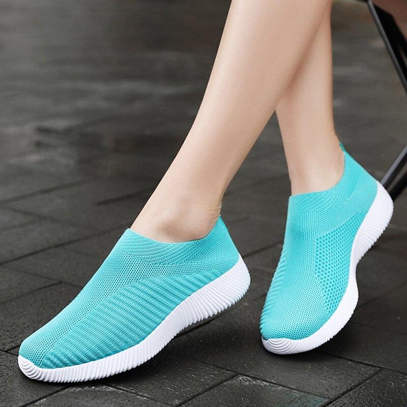 Women Vulcanize Shoes 2019 Women Shoes Fly Knitting Socks Sneaker Women Loafers New Women Sneakers Tenis Feminino Plus Size 43