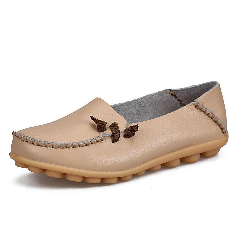 BEYARNE ของแท้หนัง breathable รองเท้าผู้หญิง 2017 แฟชั่นลูกไม้ขึ้นรองเท้าสบายๆ Peas รองเท้าลื่นกลางแจ้ง Plus