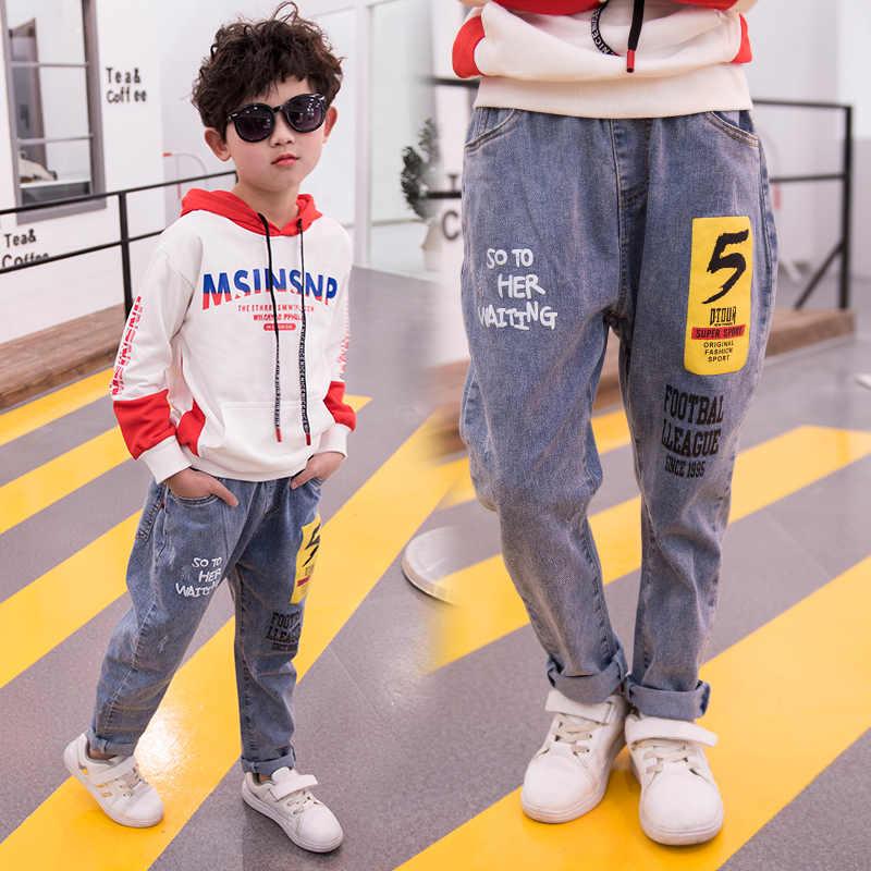 Leisure Boys Denim Trousers Casual Jeans Fashion Teen Children Elastic Waist High Quality Brand