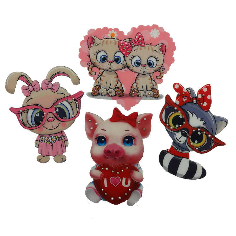 Embroidery New Printing Three-dimensional Cartoon Doll Rabbit Pig Pig Cloth Heat Transfer 3D Clothing Decoration Accessories