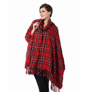 Image 2 - RUNMEIFA poncho pour jeune fille bohémien avec pompon, écharpe à carreaux, cape à capuche, vêtements pour femmes, tendance 2019