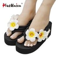 The New Summer Pearl Egg Flower Sewing Beach Shoes Wedges Platform Durable Flip Flops