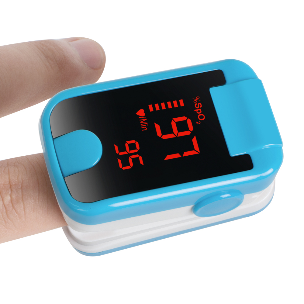 Color Blue Portable LED Finger Tip Pulse Oximeter Blood Oxygen SpO2 PR Monitor