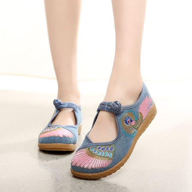 2016 Мода Женская Обувь Старый Пекин Квартиры Повседневная Обувь Китайский Стиль Вышитые Ткани Плюс Размер 2 Цветов