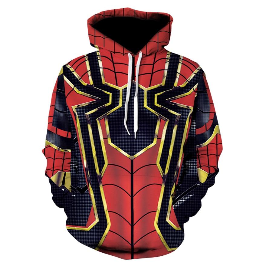 New 2018 avengers 3 Men hoodies Fashion men Spider-Man 3d print Hoodies Streetwear Casual Cospaly Sweatshirt Plus size XS-3XL