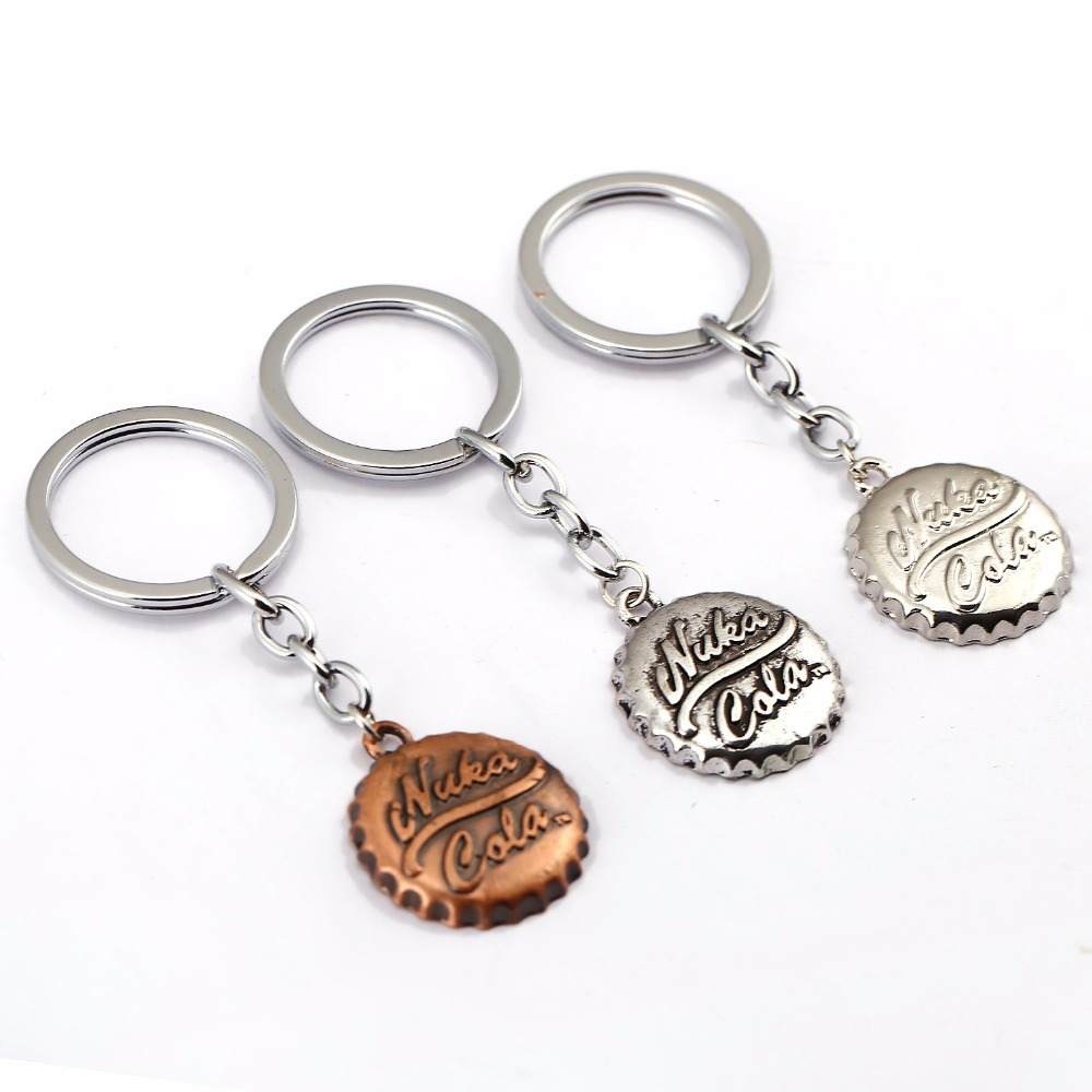 Newest 1 Pcs Hot Cool game Fallout 4 Beer Cap Shape Pendant Keychain Fashion Car Key Ring Nice Gift Key Holder Action figure toy