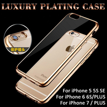 Ultra Thin Clear Crystal Rubber Plating Electroplating TPU Soft Phone Cases For Apple iPhone 5 5S SE 6 6S 7 Plus 7Plus Cover bag