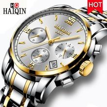цена HAIQIN New Waterproof Quartz Watch Top Brand Luxury Business Chronograph Quartz Watch Men Stainless Steel WristWatch Male Clock онлайн в 2017 году