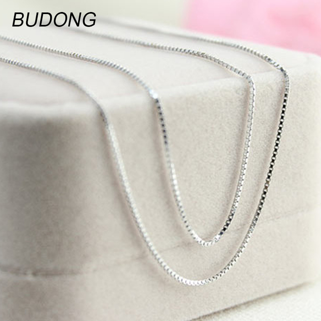BUDONG 1.5mm Width Box Chain Necklace for Women Fashion 925 Sterling Silver Neck