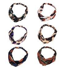 цена на Korean Vintage Contrast Colored Leopard Print Headband Women Girls Cross Twist Knotted Stretchy Hairband Multiuse Sports Turban