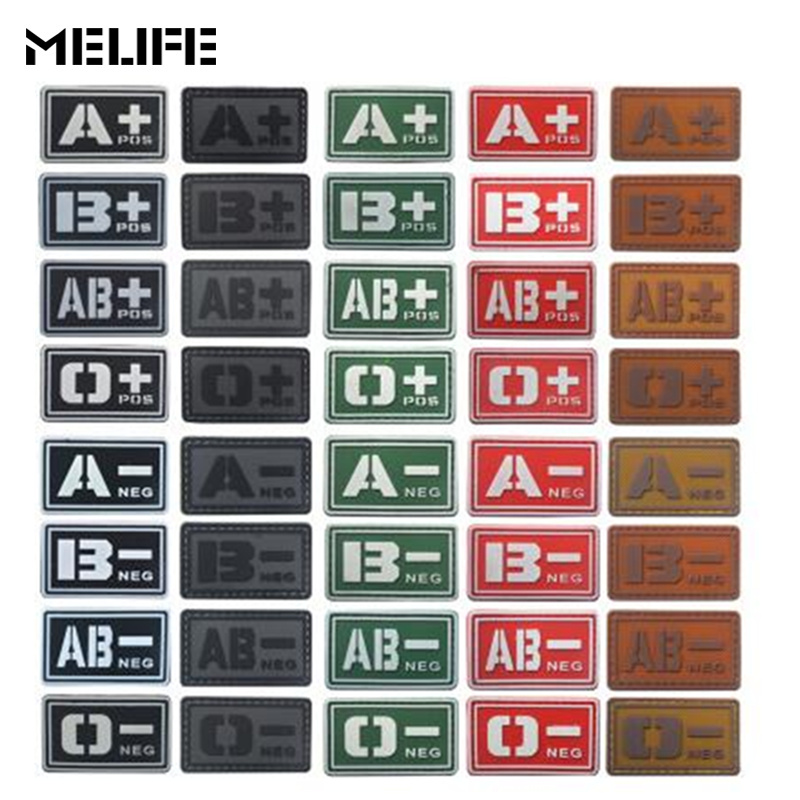 Military Patch Glowing 3D PVC Patch A+ B+ AB+ O+ Positive A- B- AB- O- Negative Blood Type Group badges for Hunting accessories