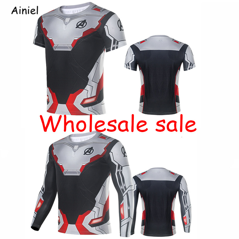 10 PCS LOT Avengers Endgame Quantum Realm Cosplay Costume Superhero Captain America Short Long Sleeve Tops