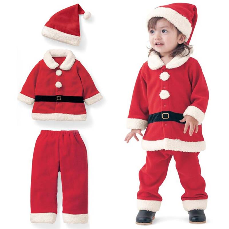 Baby Girl Boy Clothes Christmas Outfits Santa Claus Plus Velvet Long-Sleeved Set Hat Three-Piece