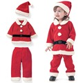 Baby Girl Boy Clothes Christmas Clothes Outfits Santa Claus Plus Velvet Christmas Long-Sleeved Set Christmas Hat Three-Piece