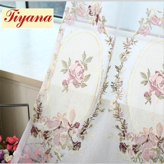 Sheer White Embroidered Pink Flower Curtain Elegant Royal Valance