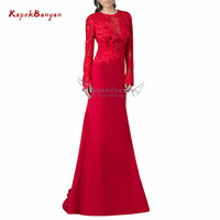 Mother of Bride Dress with Long Sleeves Applique Backless Zipper Long A line Dress Mother of The Groom Vestido Mae Da Noiva
