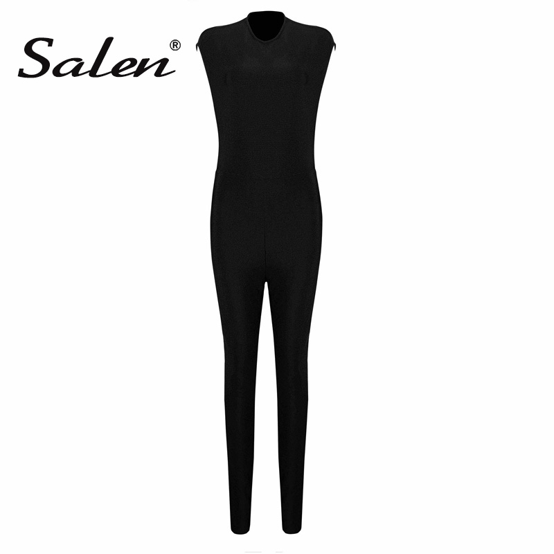 Salen Sexy O Neck Backless Beading Women Bandage Jumpsuits Solid Black Bodycon Women Bodysuits Fashion Full Length Romper 2018 ...